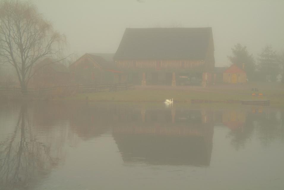 ©h. scott heist 09 bucks county pa farm in fog