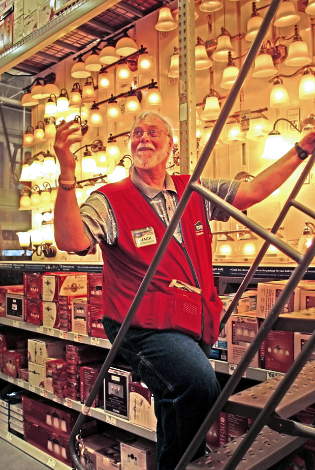 Jack Tumelty left the Marines for a carreer managing in a PECO Plant. When retirement lost its apeal about six years back, he found a job he really likes in the electronic department at Lowe's in Willow Grove.